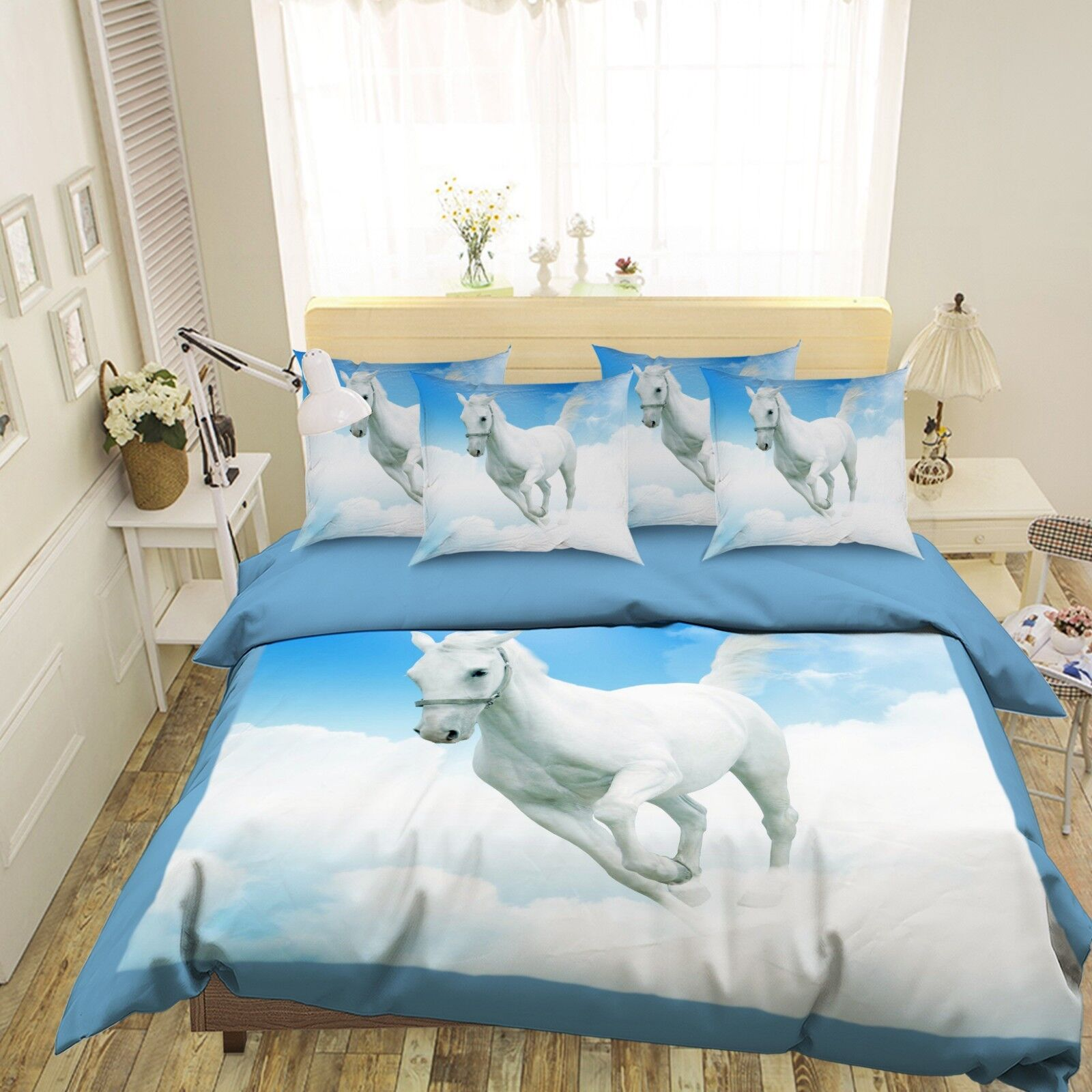 3D Clouds Horse 687 Bed Pillowcases Quilt Duvet Cover Set Single King UK Summer
