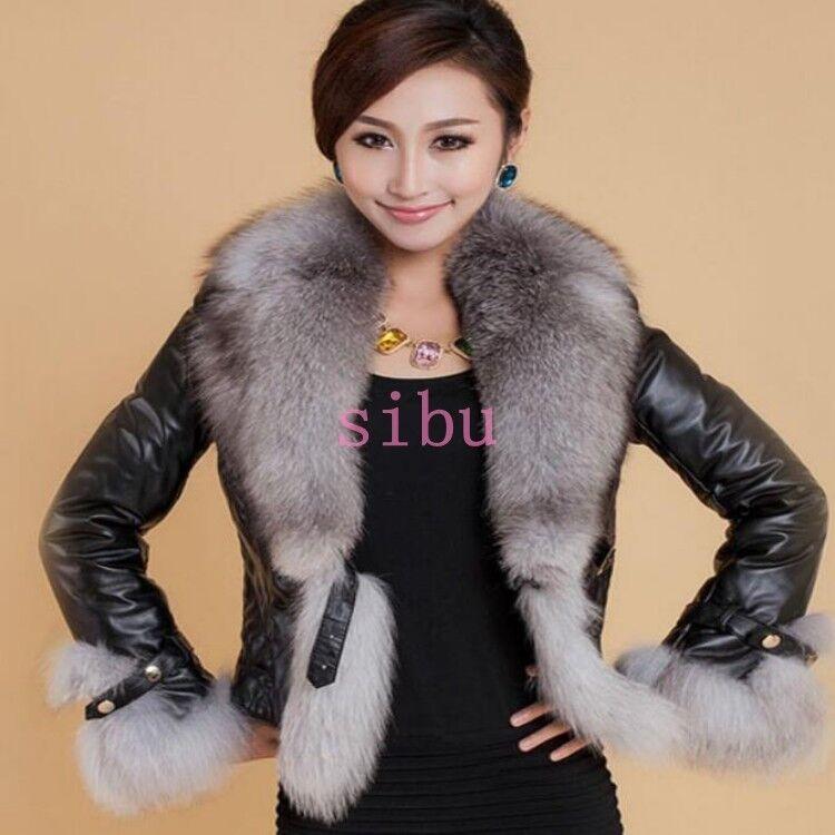 Mujeres Cuero Cuello de piel de zorro Balt Abrigo  Chaqueta Corta Abrigo Parka Prendas de abrigo  muchas sorpresas