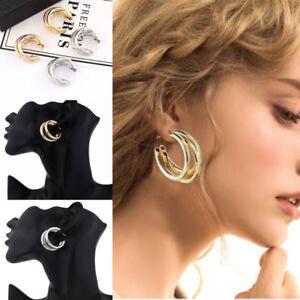 Simple-3-Cercle-Argent-Or-Plaque-Charme-Cuff-Statement-Ear-Stud-Big-Boucles-d-039-oreilles