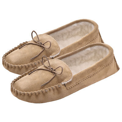 Ladies Sheepskin Lined Moccasin Slippers with Soft Suede Sole UK Made Lambland