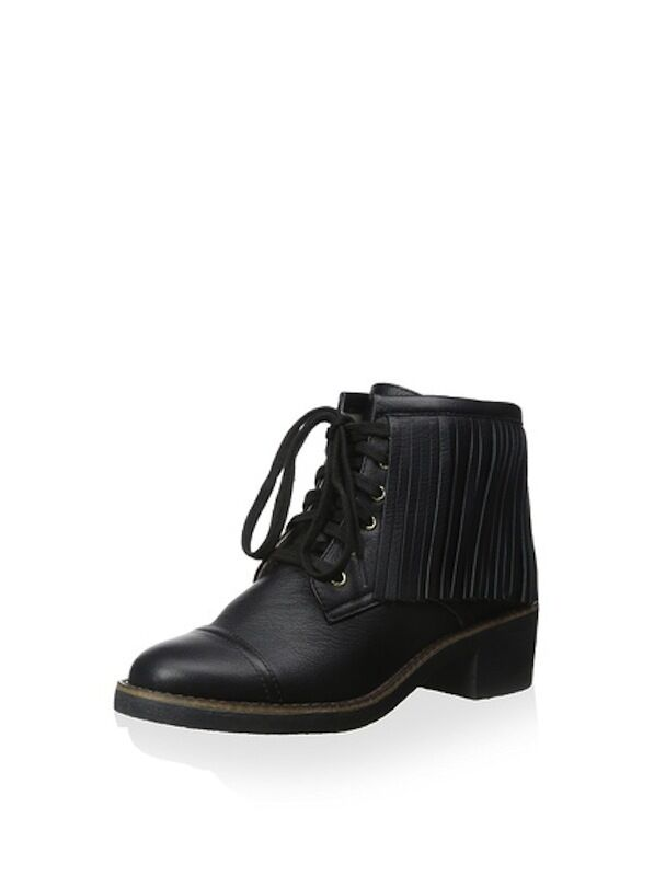 House of Harlow 1960 Black Cutler Fringe Leather Lace Up Women's Boots 7.5 NEW