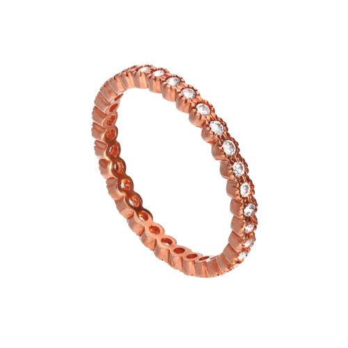 Real 375 9ct Rosa Oro y claro CZ anillo de apilamiento de cristal completo la eternidad tamaño I-U