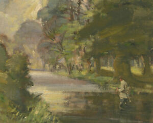 Impressionist-20th-Century-Oil-Landscape-with-Fisherman