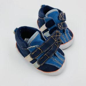 Carter's Infant Boys Sneaker Shoes Size 1 Soft Sole Navy Beige Cloth Comfort