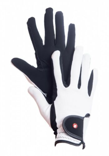 Reithandschuhe Professional HKM by jinete cargar 24 nobuck refinada imitación de piel negro//blanco