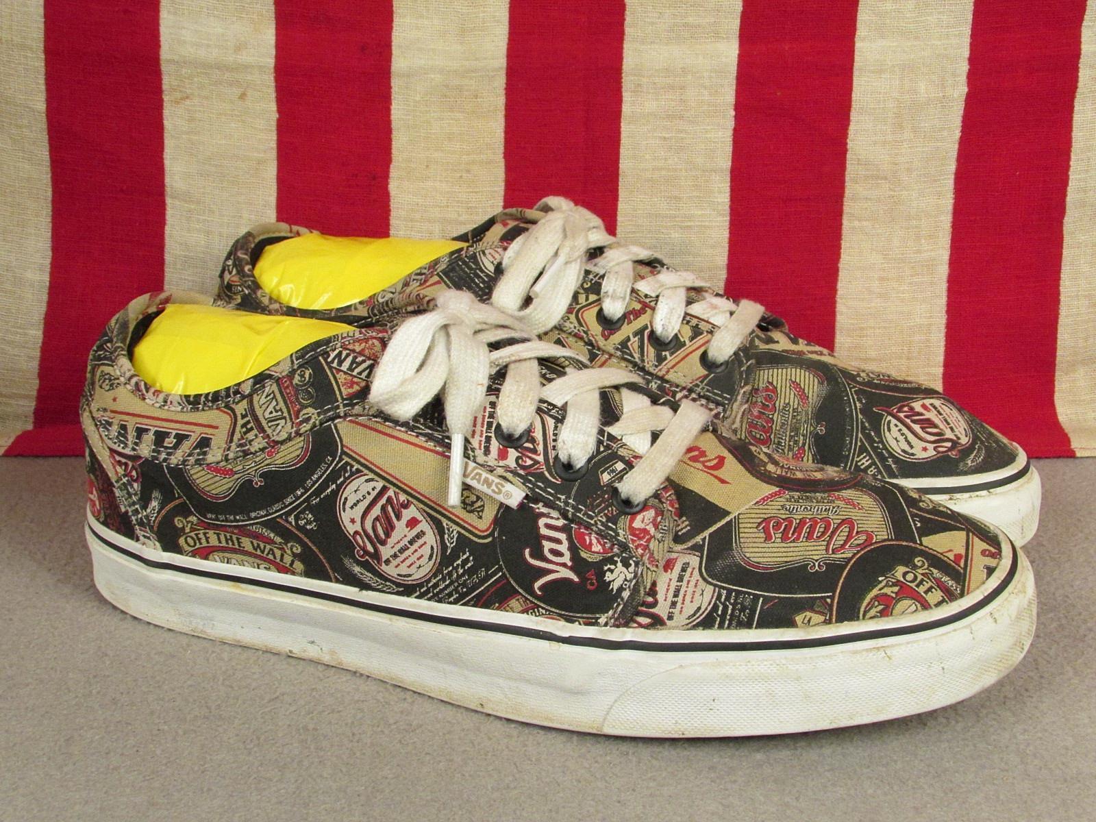 Vintage Vans Skateboard Shoes Beer Can Label Print Pro Low-Top Sneakers Sz.12