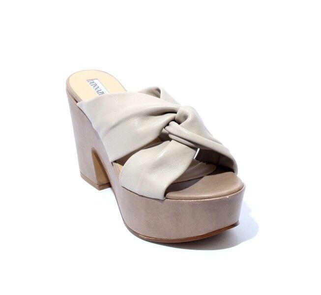 women Piu 53045c Beige Leather Platform Heel Slides Sandals 41   US 11