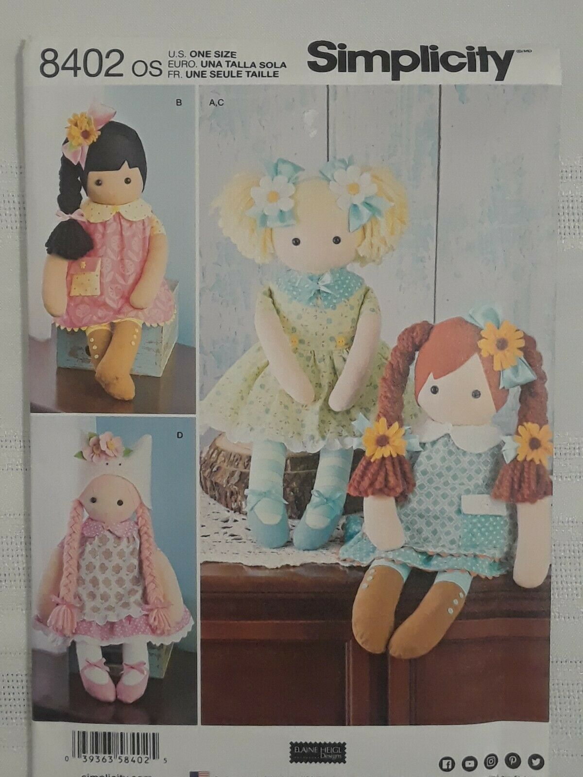 """White Paper 22 x 15 x Simplicity Pattern 8402 23/"""" Stuffed Dolls with Clothes"""