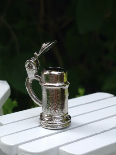 Miniature Dollhouse FAIRY GARDEN Accessories ~ Metal Beer Stein w Opening Lid