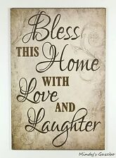 PRIMITIVE COUNTRY WOOD BLESS THIS HOME SIGN HANDMADE HOME WALL DECOR 1552