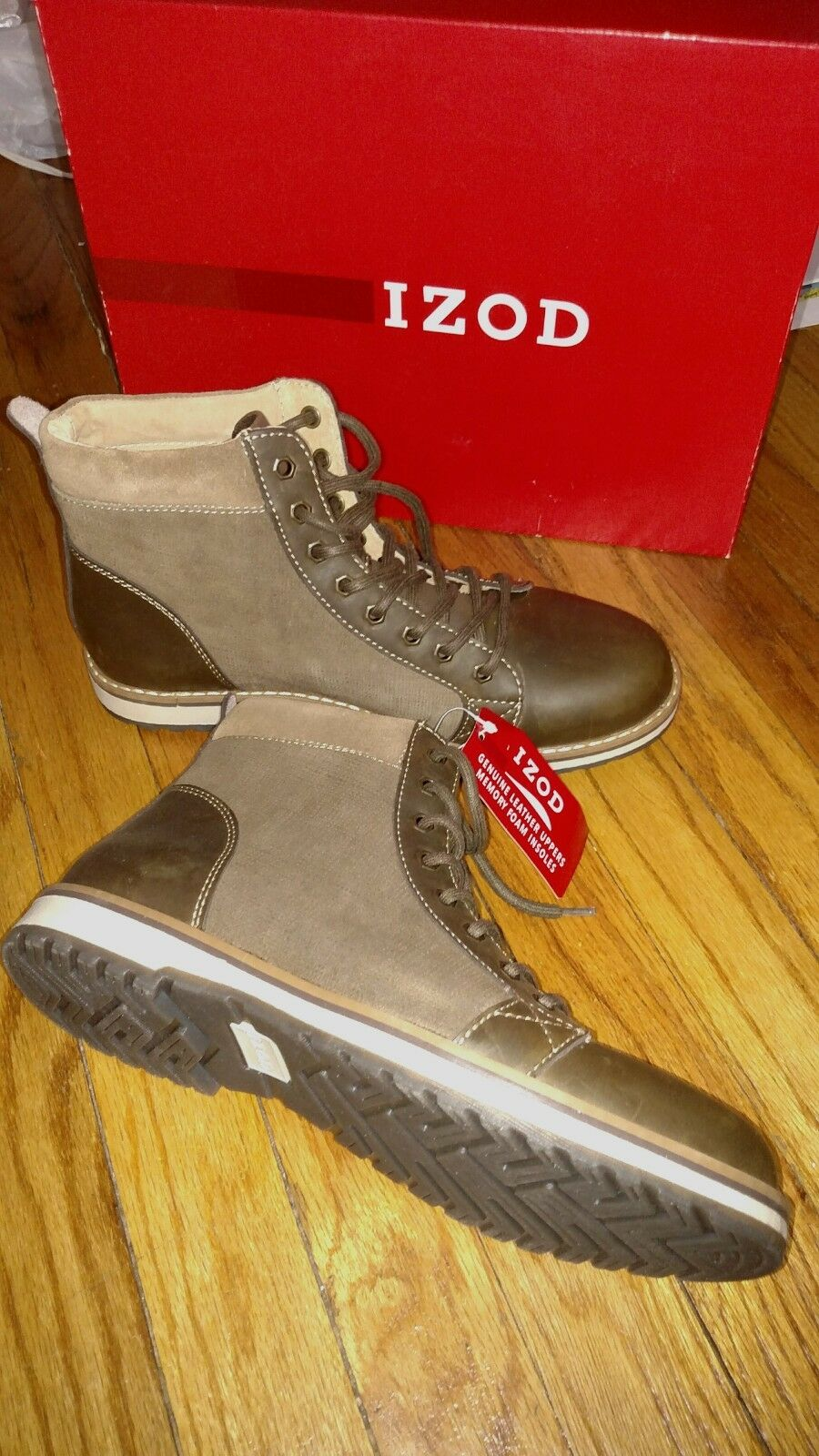 Brand New Tag Izod Genuine Leather Men's Boot 9M Legacy Brown, Retail Price