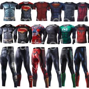 Superhero-Gym-Men-Shirt-3D-Marvel-Compression-Pants-Leggings-Cycling-T-SHIRT