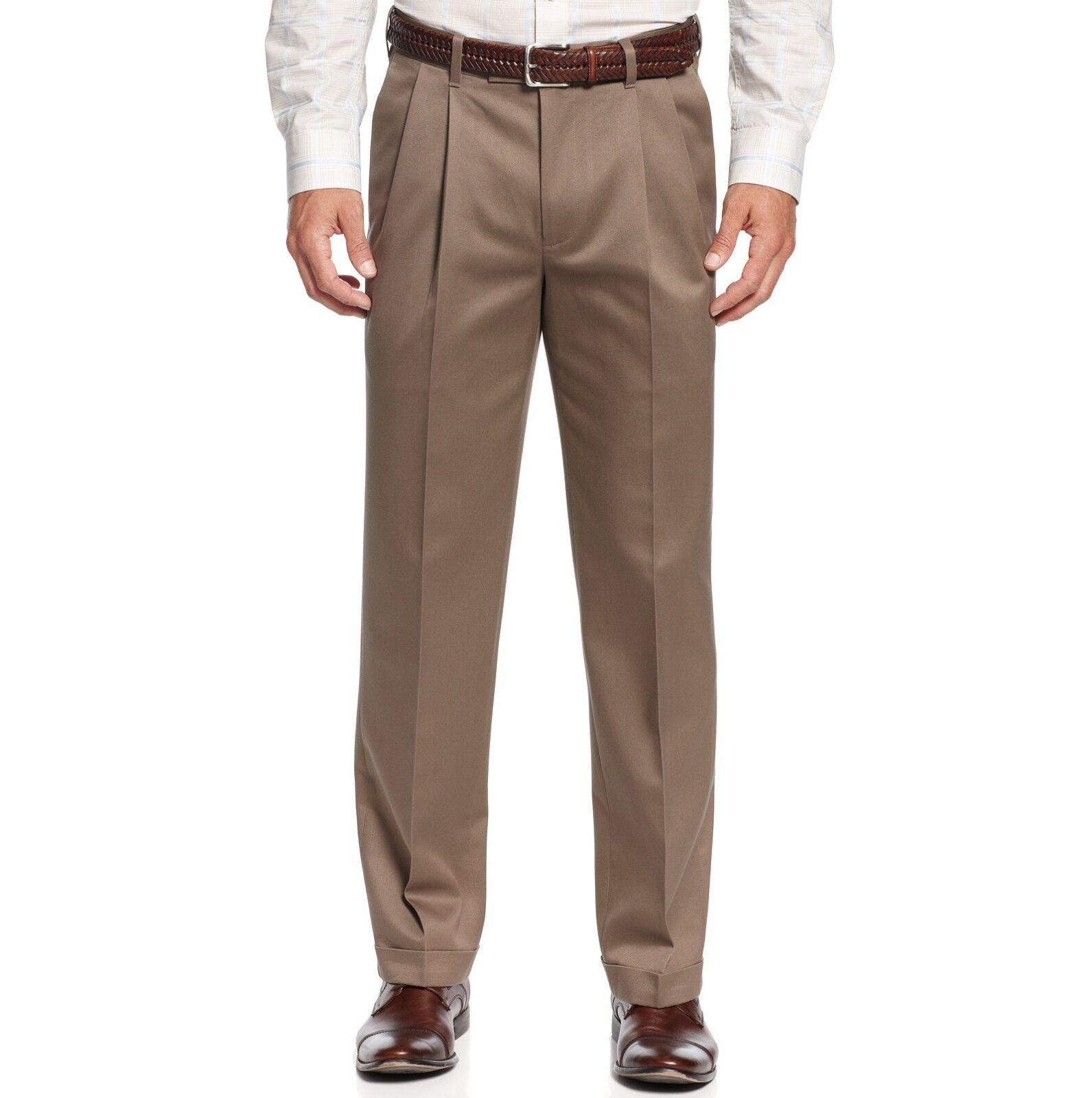 PERRY ELLIS PORTFOLIO men BROWN FIT PLEATED FRONT DRESS PANTS 36 W 32 L
