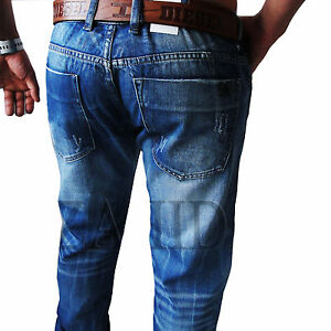 Zahida-Men-039-s-Jeans-Pants-used-denim-look-Cargo-Style-Blue-Clubwear-W30-W38