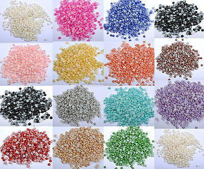 2000pcs HALF-ROUND FLATBACK BEADS ACRYLIC PEARL For Nail Art Phone Craft 2MM
