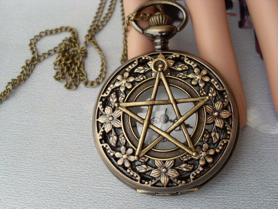 Antique pocket watch necklace Pentagram necklace  Orchid hollow necklace