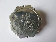 Antique Victorian sterling silver hallmarked 1884 castle scene brooch 5.8  grams