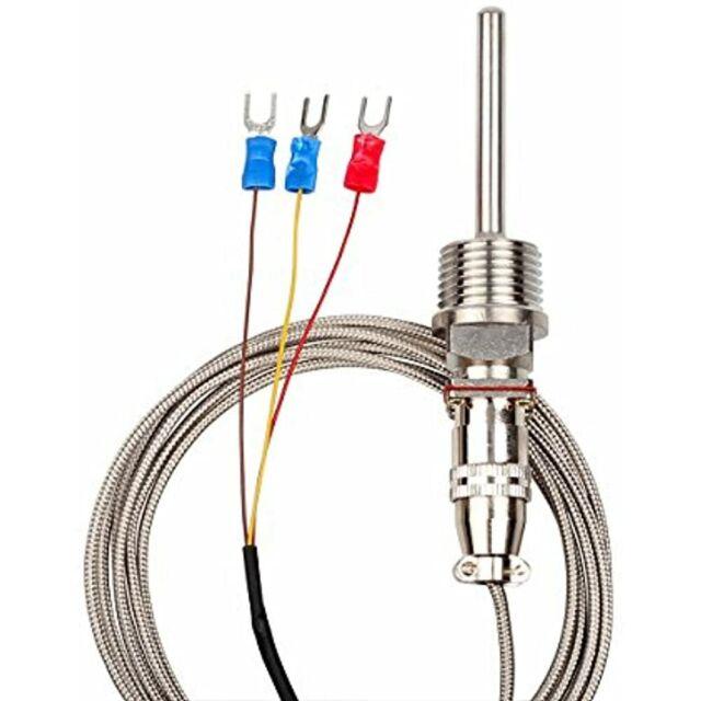 RTD Pt100 Temperature Sensor Probe Cable 3 Wires 1/2