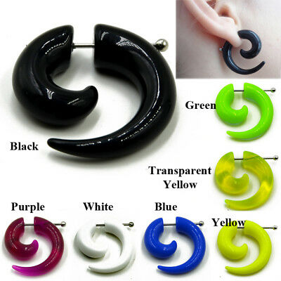 1 PAIR Acrylic Choose Color 0g Look Magnetic No Piercing Fake Cheater Ear Plug