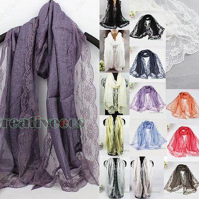 Fashion Stylish Women Girl's Net Mesh Floral Lace Trim Long Scarf Shawl Wrap