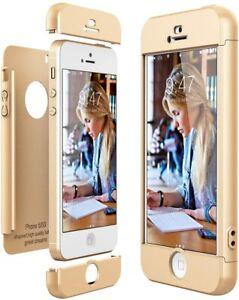 Dettagli su CE-Link Cover per Apple iPhone 5 5S SE 360 Gradi Full Body Protezione, Oro