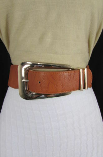 New Women Hip High Waist Brown Elastic Fashion Belt Big Long Metal Buckle XS S