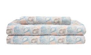 3-4-PC-Coral-Seashell-Starfish-Ocean-Theme-Sheet-Set-Elite-Home-Coastal-6-Sizes