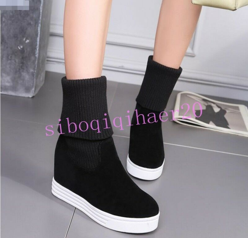Women Mid-Calf Boots Platform Elasticity Knitting Shoes Round Toe Pull On Size 8