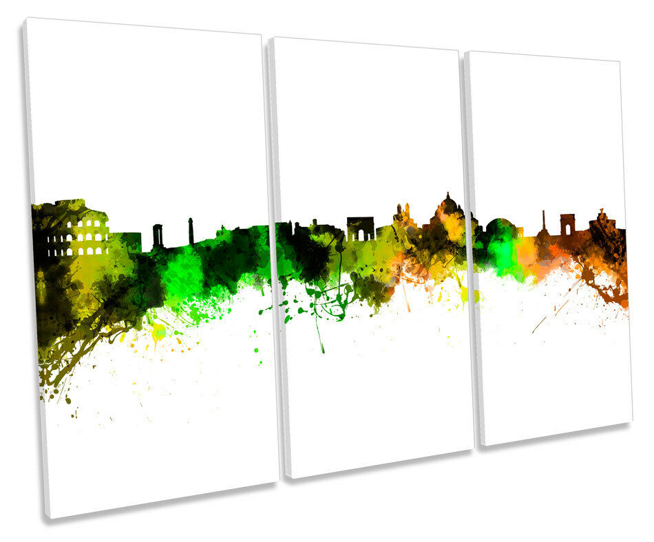 Rome City Skyline    Modern TREBLE CANVAS WALL ART Box Framed Picture b0f54f