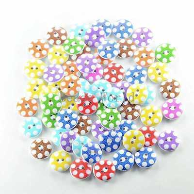 100 Pcs Mixed White Dot Pattern Round Wood Buttons Sewing or Scrapbooking 15mm