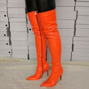 hot-selling discount new cheap select for authentic Details about FASHION Women Over the Knee Boots Thigh Heel Orange Shoes  Woman Big Size 4-15