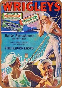 "1940s Wrigley's Gum Rustic Retro Metal Sign 9"" x 12"""