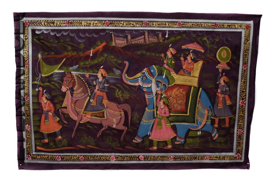 Tenture Murale Peinture Moghole sur Soie Art Scene de vie Inde 71x46cm  14