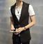 Fashion Mens Slim Fit Blazer Vest 1 Button Lapel Korean Formal Casual A2063