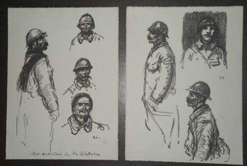 """1859//1923 STEINLEN /"""" SOLDATS DE LA GRANDE GUERRE /"""" LOT Signé"""