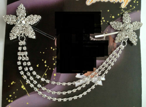 CRYSTAL DIAMANTE DOUBLE FLOWER HAIR CLIP BRIDAL //HIJAAB PIN  d2