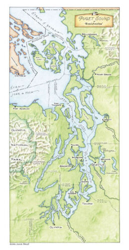 A Bird/'s Eye-view by Annie Brule Limited Edition Map Signed Puget Sound