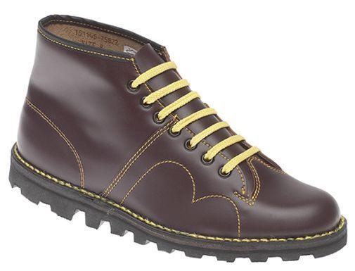Para Hombre Mono Marrón Cuero Informal botas Con Cordones Trabajo