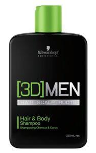 Schwarzkopf-3D-Men-Hair-amp-Body-Shampoo-250ml-Haar-und-Koerperpflege-Shampoo