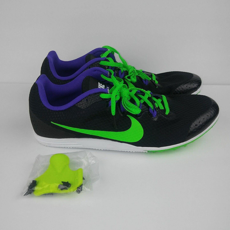 NIKE Zoom Rival D 9 Track Running Spikes Chaussures  Hommes Noir  Violet vert Hommes  Sz 10.5 b7553f