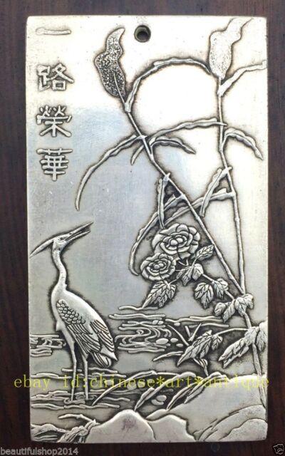 Old Chinese Tibet Silver Amulet Yi Lu Rong Hua Bullion Statue Thangka Netsuke NR