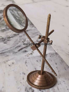 Vintage-Brass-Table-Marine-Magnifier-Magnifying-Reading-Glass-W-Stand-Nautical