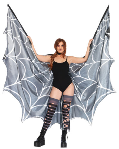Spider Web Halter Wing Cape Wings Black White Halloween