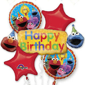 Image Is Loading Sesame Street Gang Happy Birthday Balloon Bouquet Party