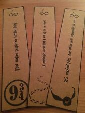Harry Potter Bookmarks. Great Gift. Set of 3. Quidditch, Platform 9 3/4.