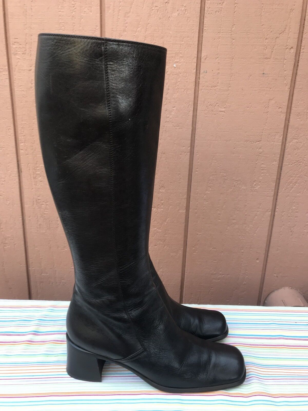 EUC  1,350 Prada Knee High Brown Leather Boots Italian Size EUR 40 US 8-8.5