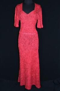 VERY-RARE-VINTAGE-1940-039-S-LONG-RED-SILK-RIBBON-DRESS-SIZE-8-10