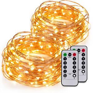 1x-100er-LED-10m-Lichterkette-Micro-Drahtlichterkette-Batterie-Weihnachten