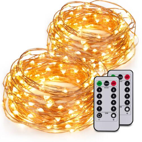 1x 100er LED 10m Lichterkette Micro Drahtlichterkette Batterie Weihnachten