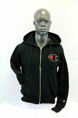 Champion Reverse Weave Full Zip Black Hoodie Jacket  Chenille Patch Logo 2XL